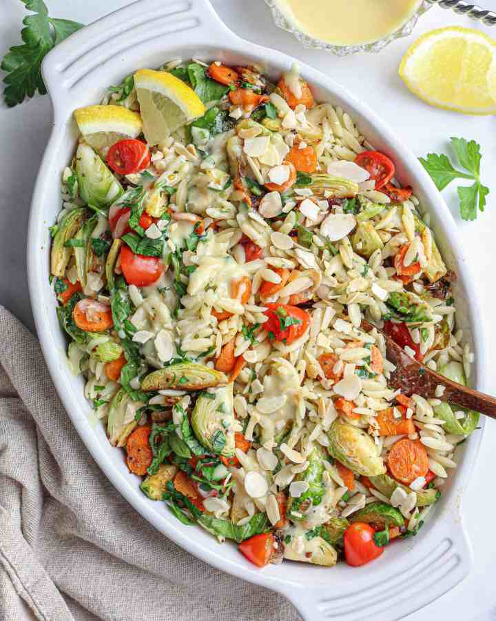 Orzo Vegetable Salad with Vegan Honey Mustard