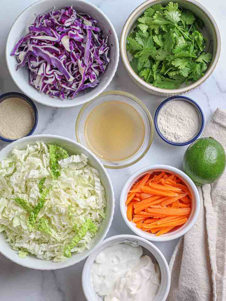 Ingredients for the cilantro lime slaw