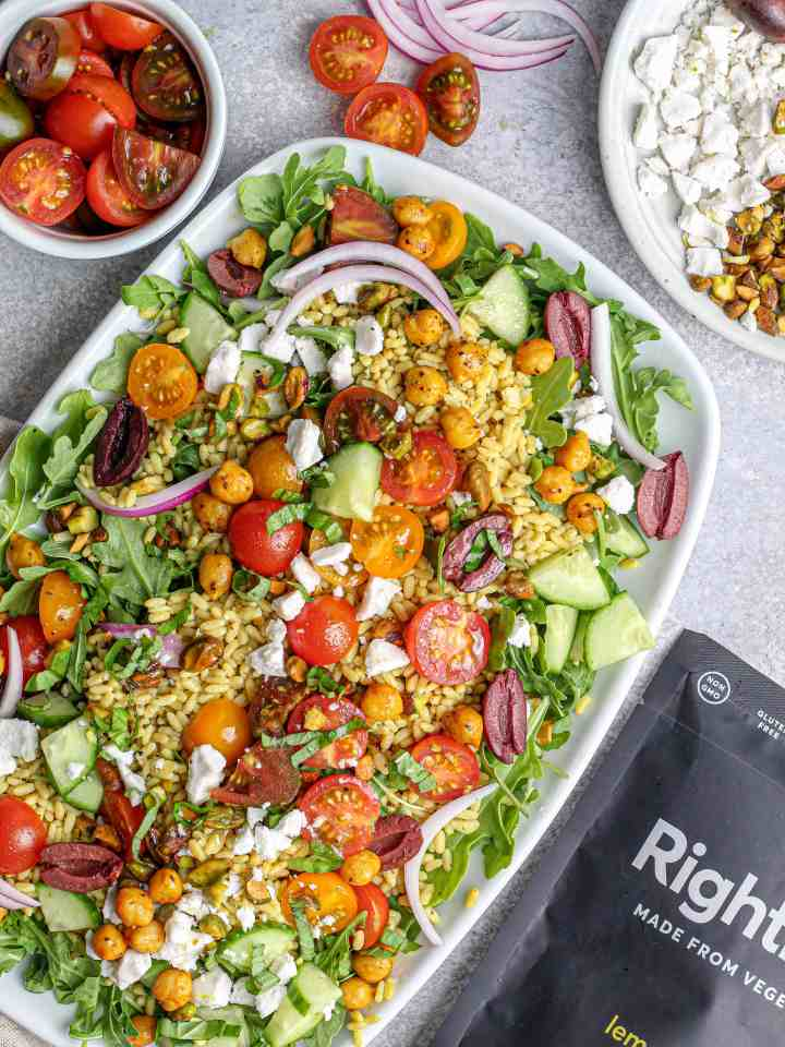 Lemon Pepper Arugula Salad with Spiced Chickpeas, Tomatoes & Pistachios with RightRice