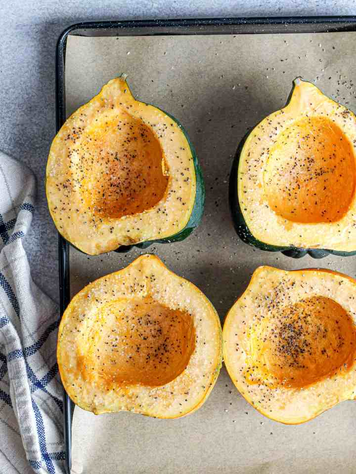 Acorn squash seasoned with seeds removed