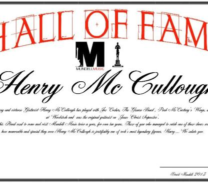 Henry McCullough/Mundell Music Hall Of Fame 2013