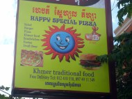 oh yeah...Marihuana is a legal traditional spice in Cambodia...hence the happy SPECIAL pizza