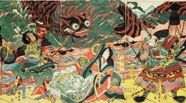 Hidesato e a Centopeia Gigante - obra do artista Katsukawa Shuntei,  entre 1815-1820   Foto:  Museu Nacional de Tóquio