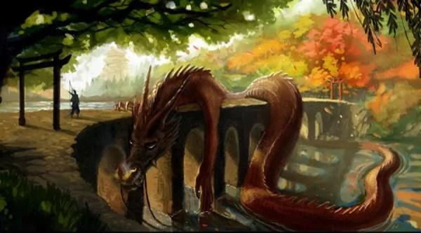 Rei Dragão deitado na ponte sobre o Lago Biwa - Arte de Arief Yapinus | Foto: AsianWikimedia