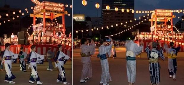 """Uma dança tradicional, conhecida como """"Bon Odori"""" é um dos principais eventos durante o Festival Obon (Foto: Reproduçao/Xinhua)"""