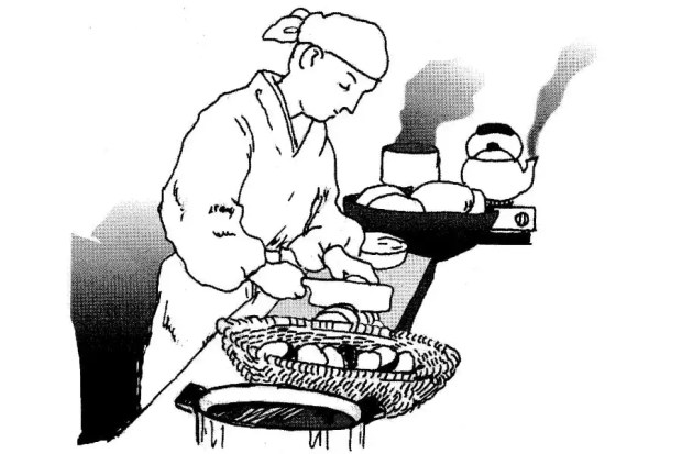 Mokuen prepara um grande banquete em homenagem à sua falecida mãe (Foto: Reprodução/Livro Japan Dictionary Culture and Civilization)