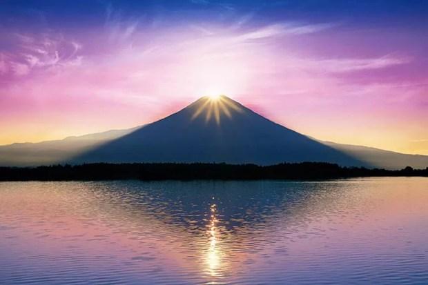 Fenômeno Diamond Fuji (Foto: Aflo Images)