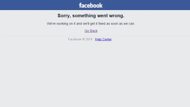 Facebook fora do ar (Imagem: Reprodução/Facebook)