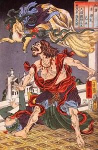 Príncipe Hanzoku aterrorizado com a raposa de nove caudas. (Foto: Reprodução da obra do artista Utagawa Kuniyoshi)