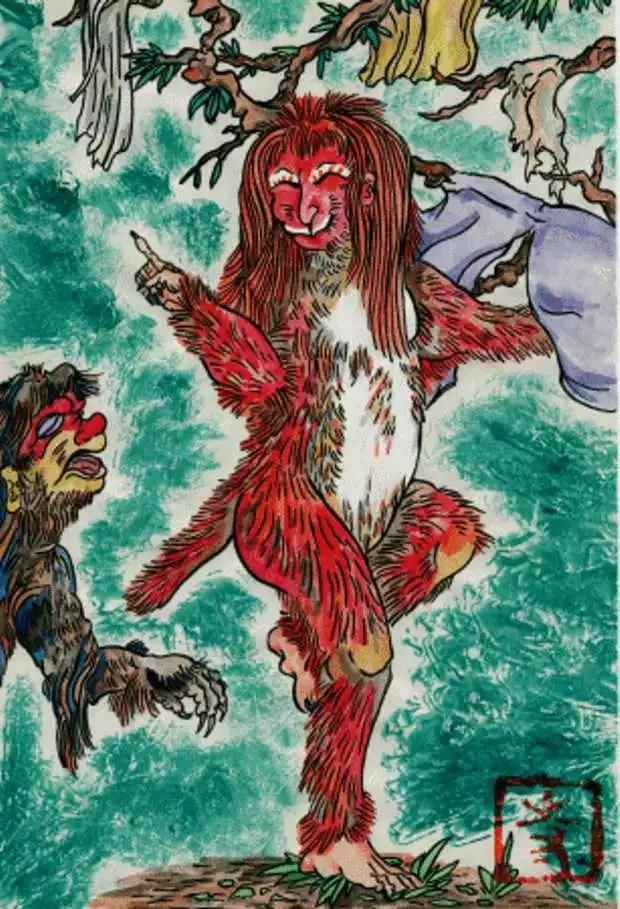 Lendas chinesas descrevem Shojo com o corpo coberto por pelos vermelhos (Foto: Reprodução/Livro Lendas Asiáticas)