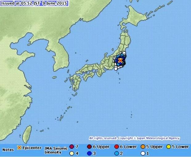Terremoto atinge o leste do Japão em 09-06-2015 (Imagem: Reprodução/JMA)