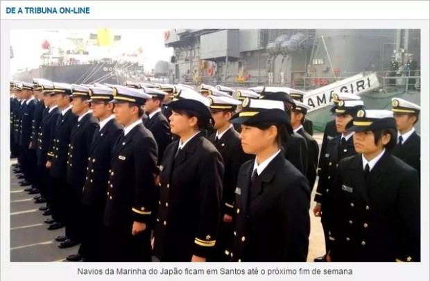 Navios da Marinha do Japão chegam em Santos (Foto: Reprodução/Jornal A Tribuna)
