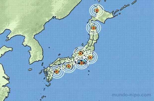Ocorrências de terremotos no Japão em 01-09-2015 (Imagem: Edição de arte Mundo-Nipo)