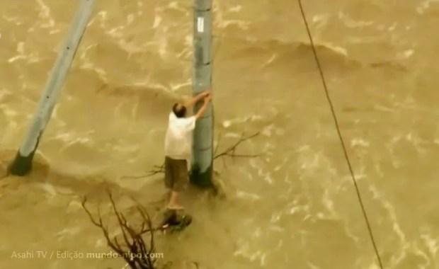 Tufão Etau provoca inundações e deixa milhares desabrigados no Japão (Imagem: Reprodução/TV Asahi/Edição MN)