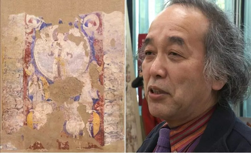 Mural de Bamiyan e o professor Masaaki Miyasako (Foto: Reprodução/NHK)