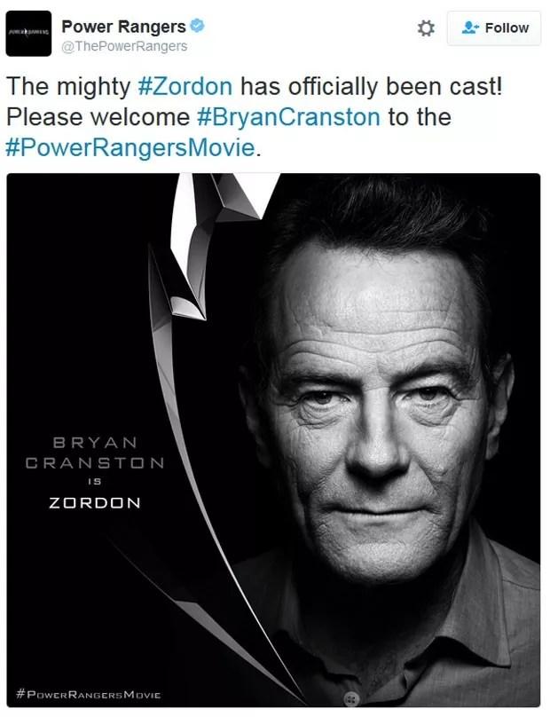 Bryan Cranston anunciou no Twitter que viveria Zordon no novo 'Power rangers' (Foto: Reprodução/Twitter/BryanCranston)