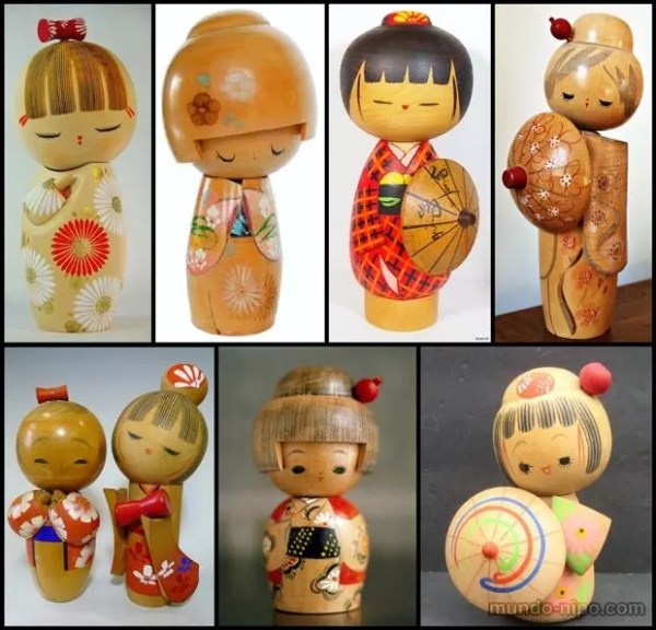 Variedade de kokeshi (Foto: Montagem Mundo-Nipo)