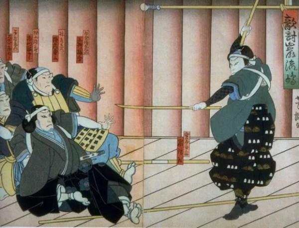 Miyamoto Musashi exibe sua técnica, obra de Yoshitaki Tsunejiro (Foto: Kyodo/Museu Nacional de Tóquio)