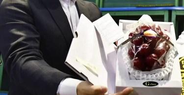 Leilão 2019 de uvas Ruby Roman 2019 | Foto: Reprodução / Kyodo