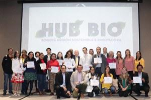 Entrega de certificados a las empresas del entrenamiento especializado bio, en el evento del Hub Bio del 10 de marzo de 2020