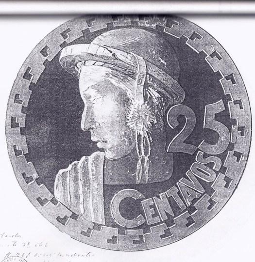 Diseño que tuvo la moneda de 25 centavos con características más latinas.
