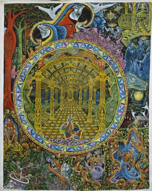 """Los Grados del Curandero By Pablo Amaringo. Aparece no livro """"The Ayahuasca Visions of Pablo Amaringo"""