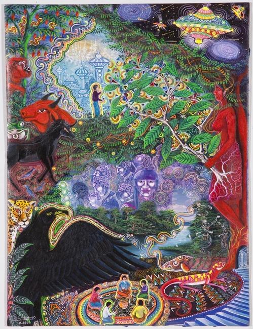 "Yana Huarman By Pablo Amaringo. Aparece no livro ""The Ayahuasca Visions of Pablo Amaringo"" (""As visões de Ayahuasca de Pablo Amaringo"") por Howard G. Charing."