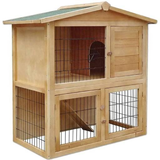 Casa para conejos de exterior en madera Dibea