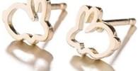 Pendientes de conejitos dorados de acero para mujer o niñas