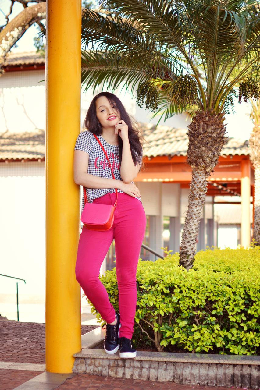 Look Pink com Xadrez Vichy