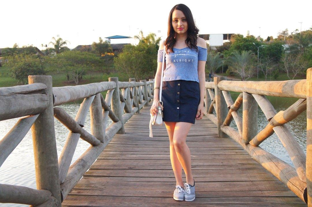 Look do Dia Azul Marinho e Branco
