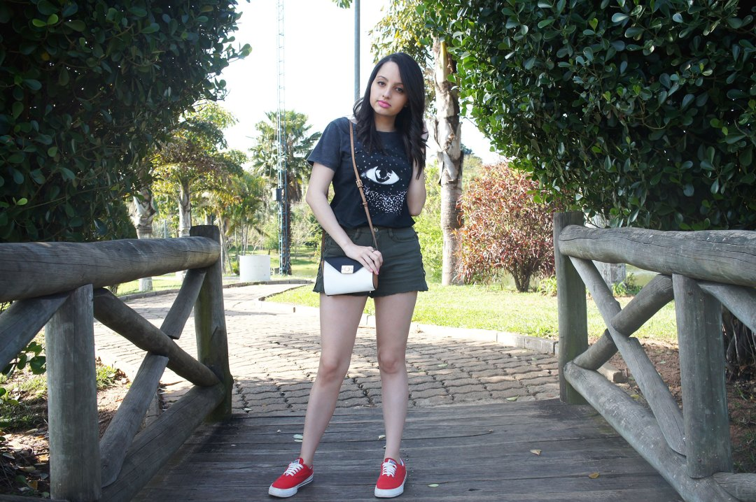 Look do Dia - Preto e Verde Militar