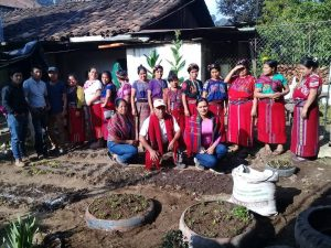 a large group of Guatemalan men and women stand together in a garden that they are creating in Chajul