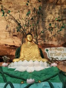 statue in a cave at phu langka