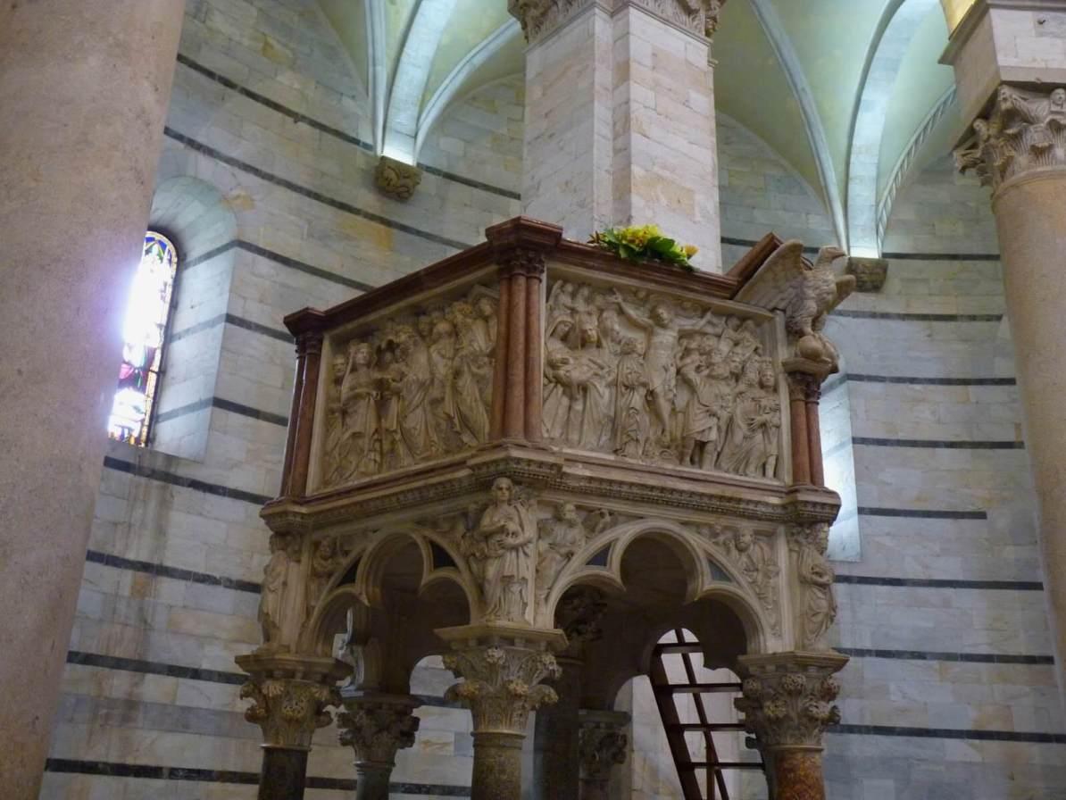 Battistero di San Giovanni Pulpito Pisa Itália Mundo Indefinido