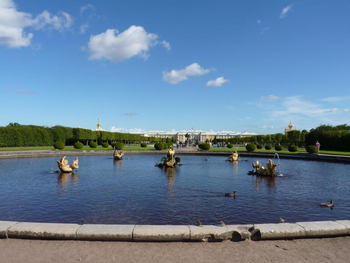 Jardins Superiores 01 Peterhof São Petersburgo Rússia Mundo Indefinido