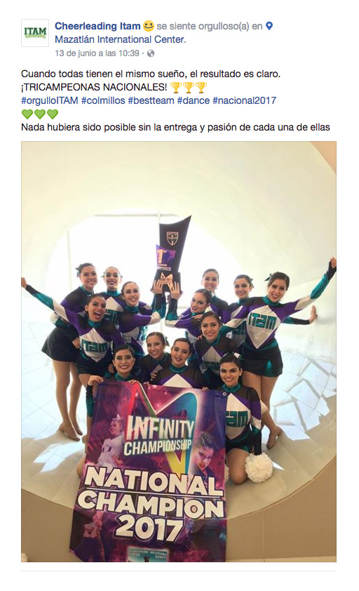 Cheerleading ITAM en Infinity Championship 2017