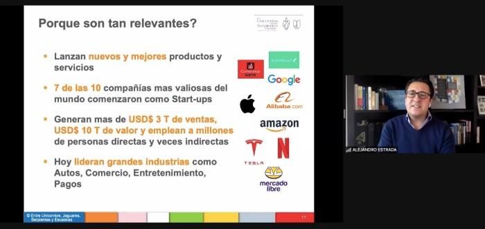 Alejandro Estrada habló sobre las características que hacen relevantes a las startups. Foto ITAM.