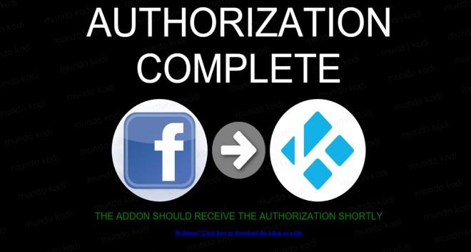 9 autorizacion completa. Facebook en Kodi