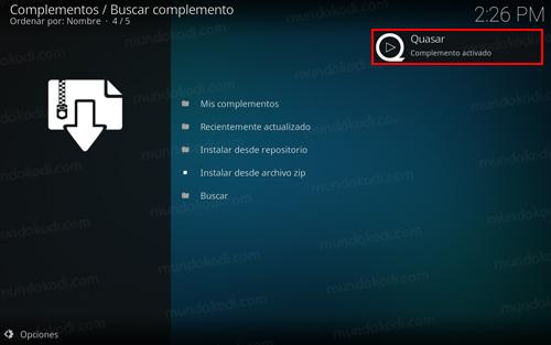 quasar en kodi