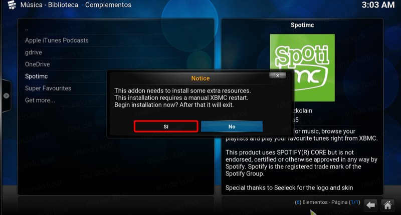spotmc en kodi 7 notice