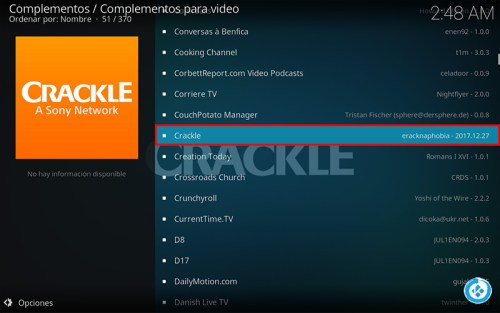 addon Crackle en Kodi