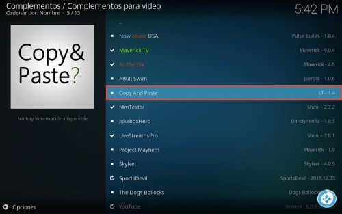addon copy and paste en Kodi