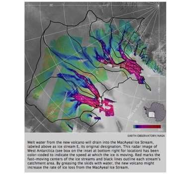 Encuentran un volcán activo muy por debajo de la capa de hielo Antártica