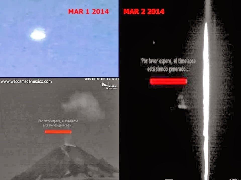 OVNI y de Haz de luz sobre el Volcán Popocatépetl México