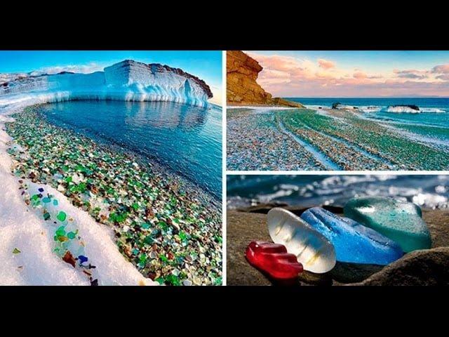 Playa de Cristal en Rusia y Olas congeladas en Nantucket, Massachussetts