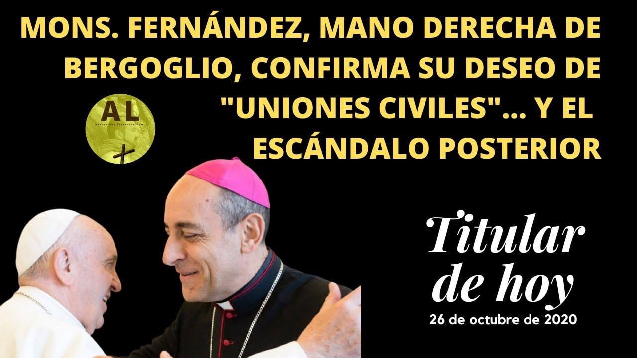 """TITULAR HOY: MS. FERNÁNDEZ, MANO DERECHA DE BERGOGLIO, CONFIRMA SUS """"UNIONES CIVILES"""". Y ESCÁNDALO.."""
