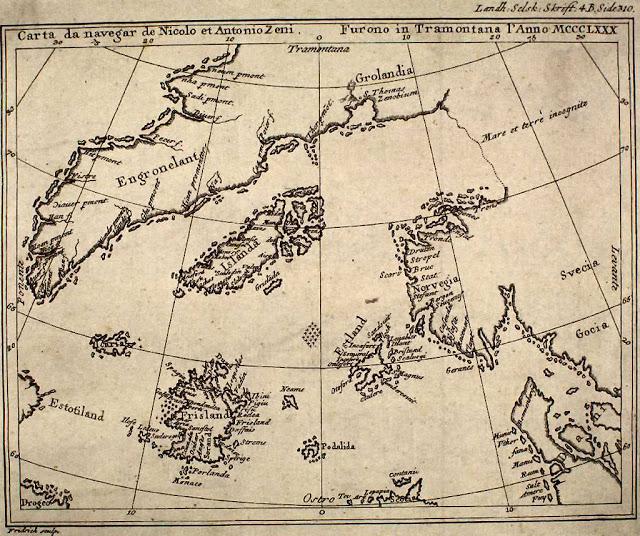 Map by nicolo zeno 1558 - Mapas antediluvianos: Evidencia de civilizaciones avanzadas antes de la historia escrita #Antediluviano #PiriReis