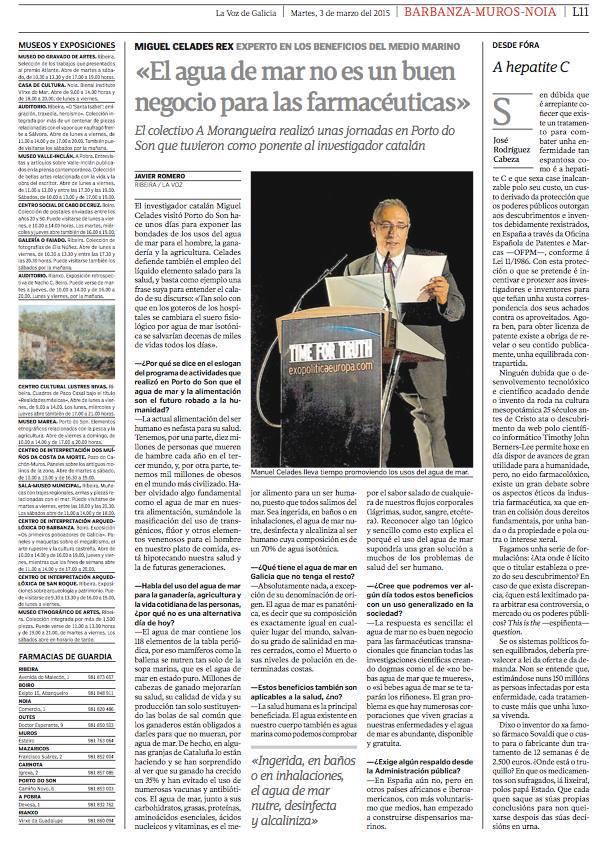 El agua de mar no es un buen negocio para las farmacéuticas en La Voz de Galicia por Miguel Celades