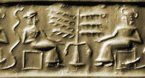 Impresión de sello cilíndrico - El Arbol, la serpiente y dos deidades (s. XXII BC)